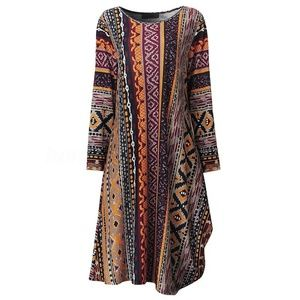 Multicolor Ethnic Print Asymmetric L/S Knit Dress